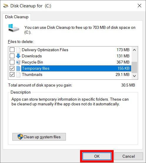 delete temporary files
